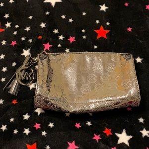 Michael Kors silver metallic pouch